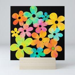 Hawaiian Holiday - Bright Textured Flowers on Black (pattern) Mini Art Print