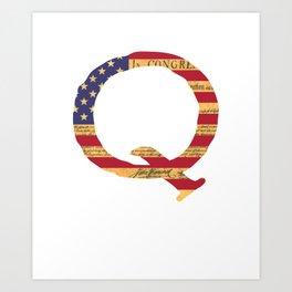 Qanon The Great Awakening MAGA USA WWG1WGA Declaration of Independence Shirt Art Print