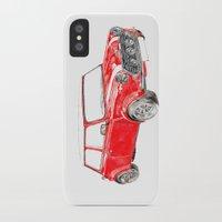 mini cooper iPhone & iPod Cases featuring Red Mini Cooper by Meg Ashford