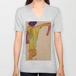 "Egon Schiele ""Male Nude, Propping Himself Up"" Unisex V-Neck"