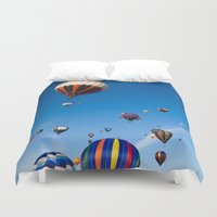 hot air balloons Duvet Covers featuring Vibrant Hot Air Balloons by Nicolas Raymond