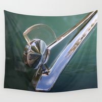 ford Wall Tapestries featuring Vintage FORD Hood Ornament by Andrea Jean Clausen - andreajeanco