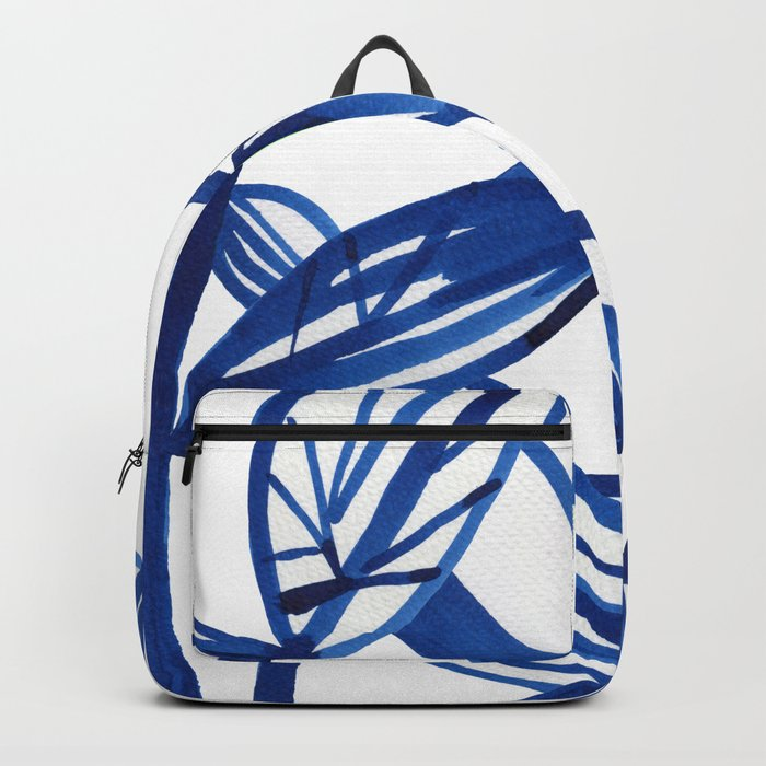 Navy blue and lime green abstract leaves Backpack