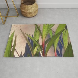 Long Green Leaves and Shadows Rug