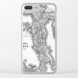 Vintage Map of Italy (1864) BW Clear iPhone Case