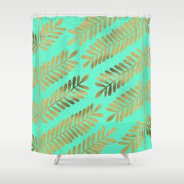Leaflets – Turquoise & Gold Shower Curtain