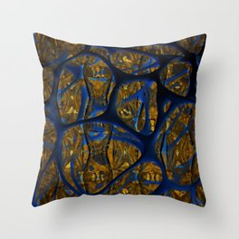 Blue And Gold Thoughts Throw Pillow