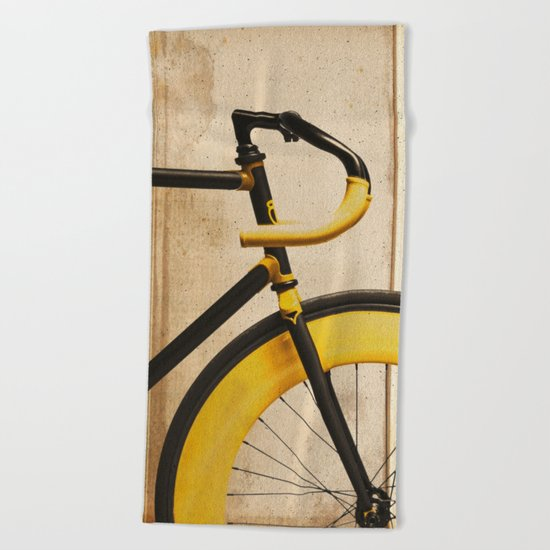 Bike With Yellow Details Beach Towel
