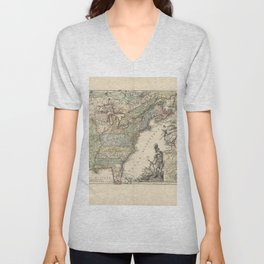 Vintage Map Print - French Map of the American War of Independence (1777) Unisex V-Neck