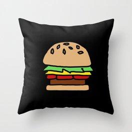 Burger Off Throw Pillow