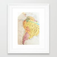 world maps Framed Art Prints featuring Maps by Caroline Mint