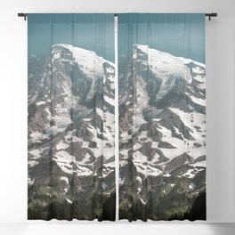 Turquoise Mountain Fever - Mt. Rainier Blackout Curtain