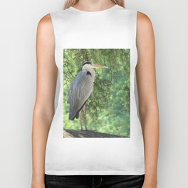 Grey heron (Ardea Cinerea) amongst trees Biker Tank