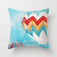 hot air balloons Throw Pillows featuring Hot Air Balloons #3 by Music of the Heart
