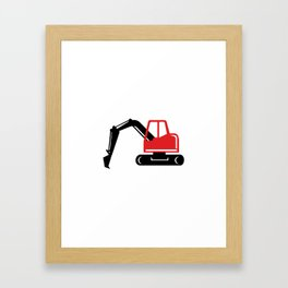 Mechanical Excavator Digger Retro Icon Framed Art Print