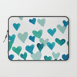 Valentine's Day Watercolor Hearts - turquoise Laptop Sleeve