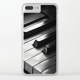 Black & White Piano Keys Clear iPhone Case