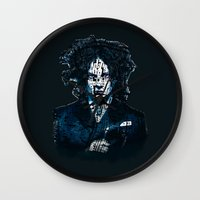 jack white Wall Clocks featuring Typo-songs Jack White by Daniac Design