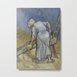 Peasant Woman Bruising Flax (after Millet) Metal Print
