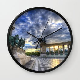 Heroes Square Budapest Sunrise Wall Clock