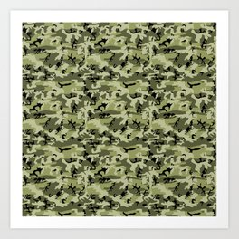 Military Camouflage Pattern - Green White Black Art Print