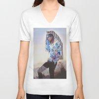 wanderlust V-neck T-shirts featuring Wanderlust by Jenessa Peterson