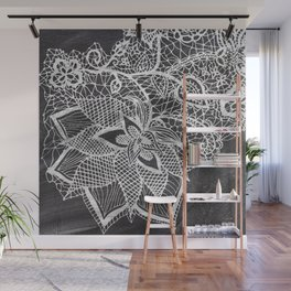 White hand drawn floral lace black chalkboard Wall Mural