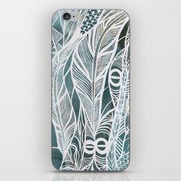 Feathery Design in Emerald Green iPhone Skin