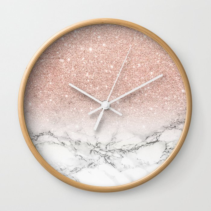 modern faux rose pink glitter ombre white marble wall clock