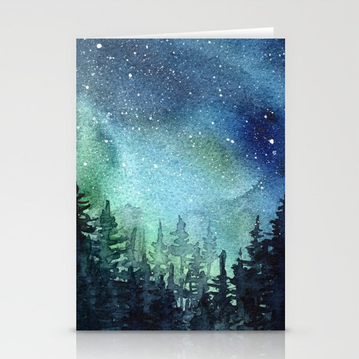 Galaxy Watercolor Aurora Borealis Painting Stationery Cards