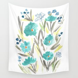 Farmhouse Chic Blue Floral Artwork Wall Tapestry