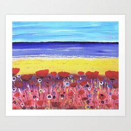 Poppies by the Beach Art Print