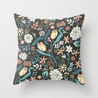 Tulip flowerbed, blue Throw Pillow