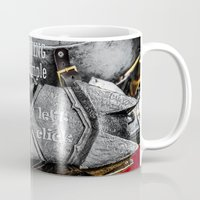 warhammer Mugs featuring Medieval knight with a warhammer by digital2real