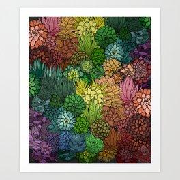 Succulent Garden Rainbow Art Print