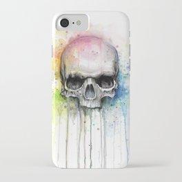 Skull Rainbow Watercolor iPhone Case