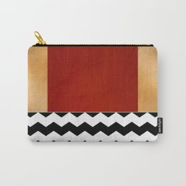 Shiny Copper Crimson Red And Black And White Chevron Pattern Carry-All Pouch