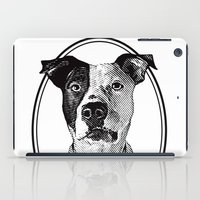pit bull iPad Cases featuring Pit Bull with oval frame by George Peters