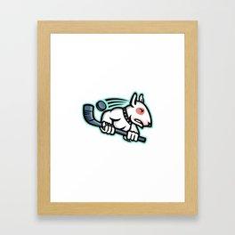 Bull Terrier Ice Hockey Mascot Framed Art Print