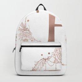 Letter H Rose Gold Pink Initial Monogram Backpack