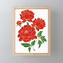 Red Peonies Framed Mini Art Print