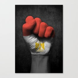 Egyptian Flag on a Raised Clenched Fist Canvas Print