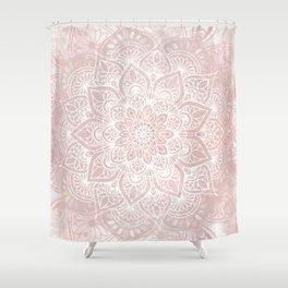 Mandala Yoga Love, Blush Pink Floral Shower Curtain