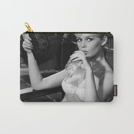 Brigitte Bardot Drinking and Smoking a Cigarette black and white photography / art photograph Carry-All Pouch