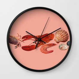 seafood shell scallop lobster shrimps coral Wall Clock