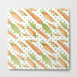 Carrots on Dotted Green Backgrond Watercolor Metal Print
