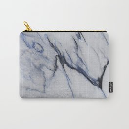 White Marble with Black and Blue Veins Carry-All Pouch