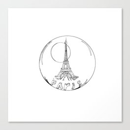 paris in a glass ball without a shadow Canvas Print