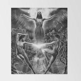 VI. The Lovers Tarot Illustration Throw Blanket
