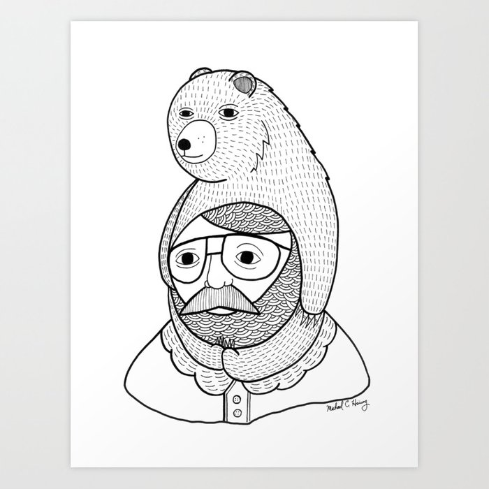 On how baby bears are often used as winter hats Art Print